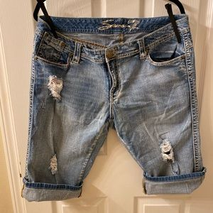 Seven7 Cropped Crop Distressed Jeans Shorts 20 38